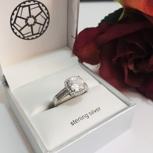 Accessories - Princess Cut Halo Sterling Silver Ring with Box